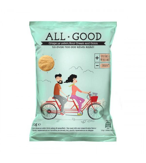 Power Health All Good Crisps σόγιας 30gr με γεύση onion & sour cream