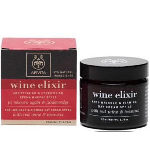 Apivita Wine Elixir Κρέμα Ημέρας SPF 15 Κόκκινο Κρασί - Μελισσοκέρι 50ml