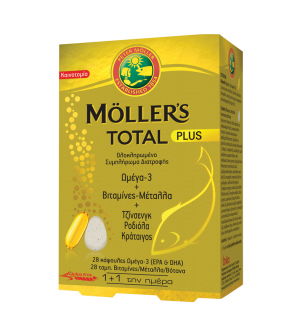 Moller's Total Plus Ολοκληρωμένο Συμπλήρωμα Διατροφής με 28caps Ω3 + 28tabs Βιταμίνες & Μέταλλα