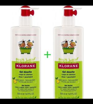 Klorane Petit Junior Gel Douche Corps et Cheveux à la Poire Ζελ-Ντους Για Σώμα & Μαλλιά Με Άρωμα Αχλάδι 2x500ml