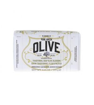 Korres Pure Greek Olive Πράσινο Σαπούνι Με Άνθη Ελιάς 125g