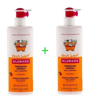 Klorane Petit Junior Shampooing Demelant Παιδικό Απαλό Σαμπουάν Με Άρωμα Ροδάκινου 2x500ml