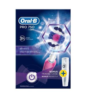 Oral-B Pro 750 3D White Ηλεκτρική Οδοντόβουρτσα Ρόζ