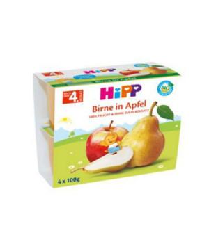 Hipp - Φρουτόκρεμα Μήλο με Αχλάδι Βιολογικής Καλλιέργειας 4x100gr