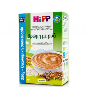 Hipp Βιολογική Κρέμα Δημητριακών με Βρώμη με Ρύζι από τον 4ο μήνα 350gr