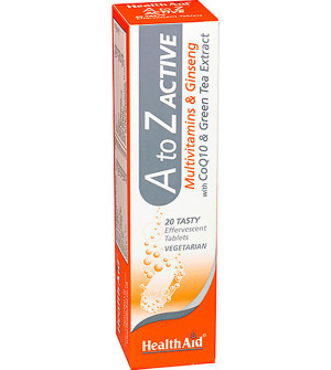 Health Aid A to Z  Active Multivitamins + Q10 Tutti-Frutti 20 Eff Tabs + 1 Vitamin C 1000mg Δώρο Πορτοκάλι 20 Αναβράζονται δισκία.