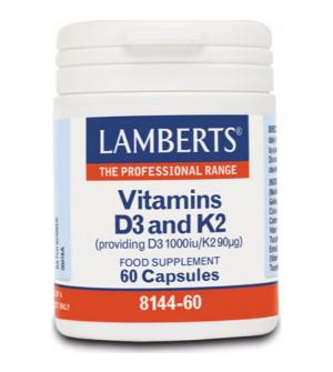 Lamberts Vitamin D3 1000iu & K2 90µg Φόρμουλα με Βιταμίνες D3 & Κ2 60 caps