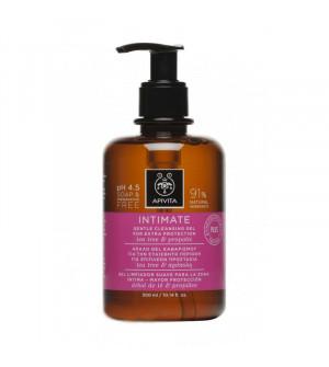Apivita Intimate Plus Τζελ Καθαρισμού Της Ευαίσθητης Περιοχής για Επιπλέον Προστασία με Πρόπολη & Tea Tree 300ml