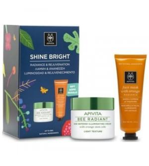 Apivita Promo Shine Bright Bee Radiant Ελαφριάς Υφής 50ml & ΔΩΡΟ Μάσκα Λάμψης με Πορτοκάλι 50ml