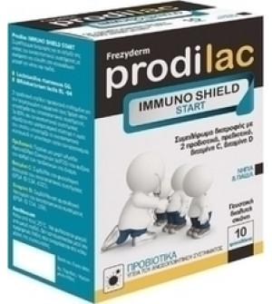 Frezyderm Prodilac Immuno Shield Start Συμπλήρωμα Διατροφής 10 Φακελάκια. Στηρίζει την υγεία του ανοσοποιητικού συστήματος, με ευχάριστη και εύκολη στην κατανάλωση μορφή για νήπια και παιδιά.