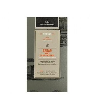 Korres Cedar  Βαφή Μαλλιών Ανδρική για Κάλυψη Λευκών & Γκρίζων 4.0 Γκρι Σκούρο Φυσικό - 60ml