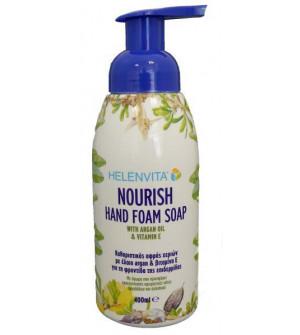 Helenvita Nourish Hand Foam Soap Καθαριστικός Αφρός Χεριών 400ml. Εύκολος στη χρήση, με ήπια σύνθεση, περιέχει έλαιο argan και βιταμίνη Ε.
