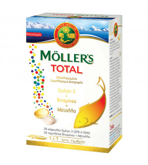 Moller's Total Ολοκληρωμένο Συμπλήρωμα Διατροφής με 28caps Ω3 + 28tabs Βιταμίνες & Μέταλλα