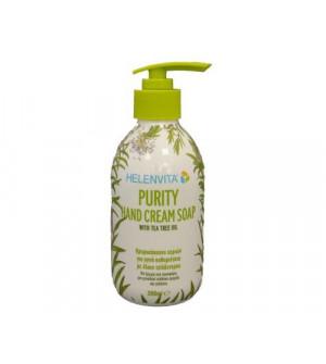 Helenvita Purity Hand Cream Soap Κρεμοσάπουνο Χεριών 300ml. Ιδανικό για ένα αποτελεσματικά καθαρό δέρμα, χάρη στο έλαιο τεϊόδεντρου.