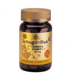 Solgar Vitamin C 100Mg Kangavites Chewable - Γεύση Πορτοκάλι 90Tabs