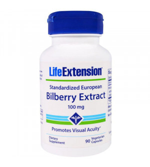Life Extension Bilberry Extract 36% Anthocyanis 100Mg 90Caps