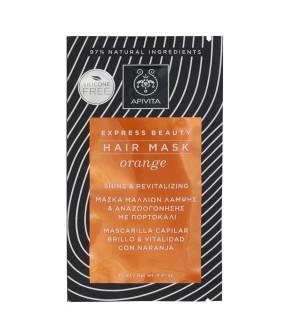 Apivita Express Beauty Hair Mask Orange Μάσκα Μαλλιών Λάμψης & Αναζωογόνησης με Πορτοκάλι 20ml