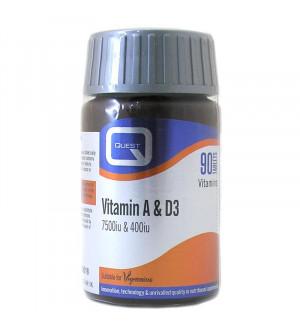 Quest Vitamin A & D3 7500Iu & 400Iu 90Tabs