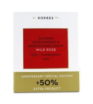 Korres Άγριο Τριαντάφυλλο Κρέμα Ενυδάτωσης & Λάμψης -  Λιπαρές - Μικτές +50% επιπλέον προϊόν - 60ml