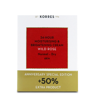 Korres Άγριο Τριαντάφυλλο Κρέμα Ενυδάτωσης & Λάμψης -  Κανονικές - Ξηρές Επιδερμίδες +50% επιπλέον προϊόν - 60ml